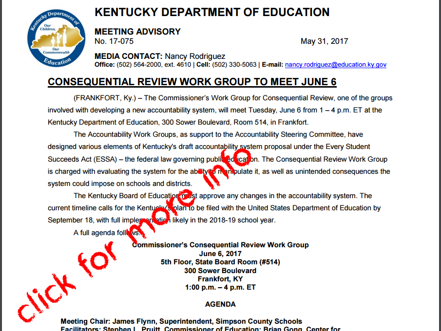 New meeting scheduled to discuss and create new accountability system for Kentuckys education